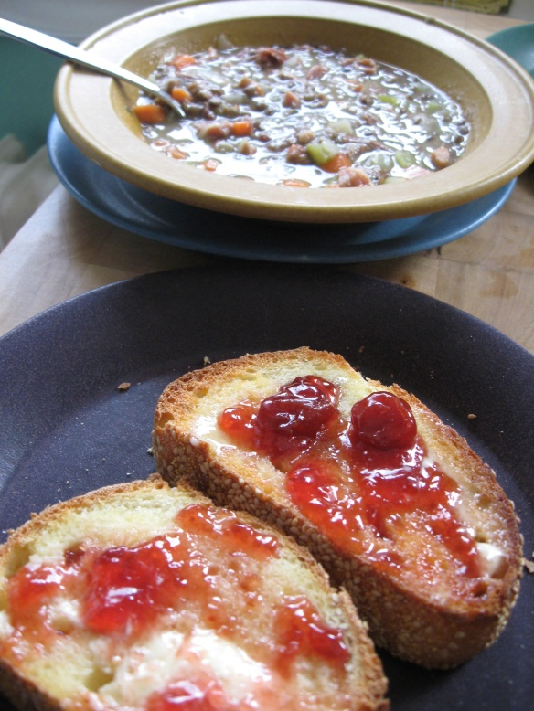 Ham and lentil soup, toast with cherry preserves, in and on the new dishes