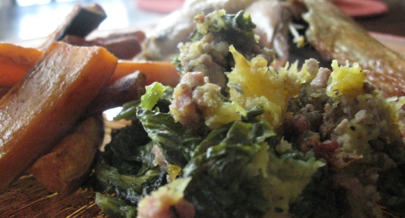 Paleo stuffing and sweet potato fries