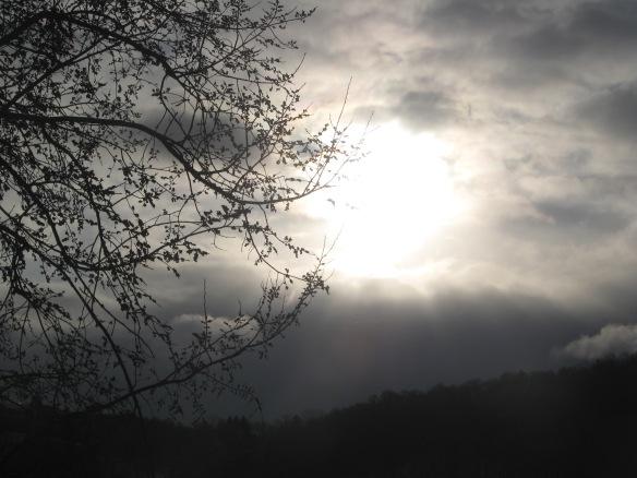 Winter sunrise over the hill