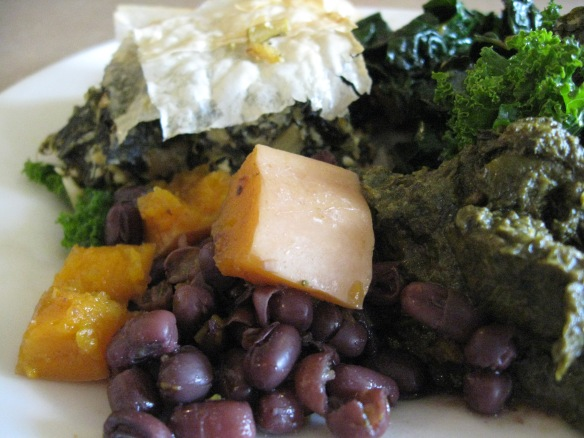 Spanakopita, beans and greens.