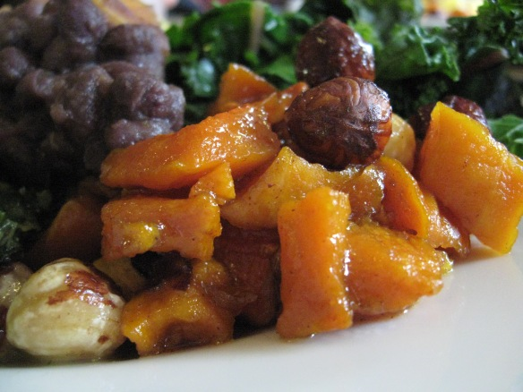 Sweet potato and hazelnuts, black beans, greens: a small window into the cornucopia of food at Kripalu.
