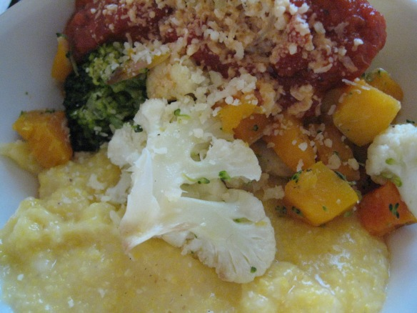 But wait, there's more! Garlicky polenta with Italian vegetables....