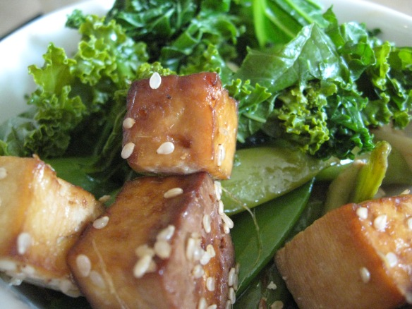 Can you see how the choice was difficult? Tofu with kale and pea pods here...