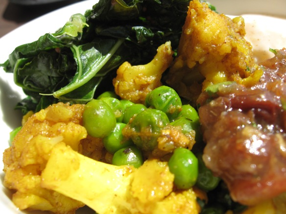 Indian curry cauliflower and peas, here,