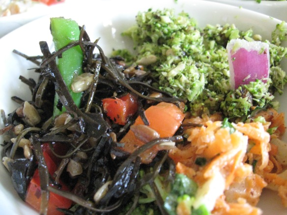 Cold seaweed salad with toasted sesame oil, fine-chopped broccoli salad, carrot salad too! Must try them all.
