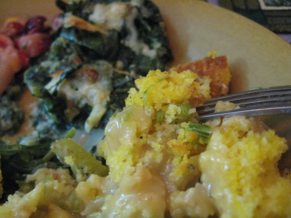 Thanksgiving with kale au gratin in the background.