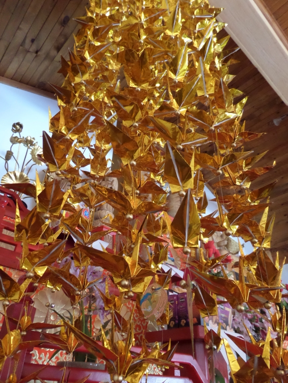 Golden peace cranes at the Grafton Pagoda.